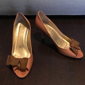 J. Crew Tan Leather Peeptoe Bow Heels